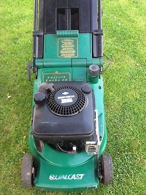 qualcast suffolk turbo  petrol push mower  rear roller lawnmowers shop